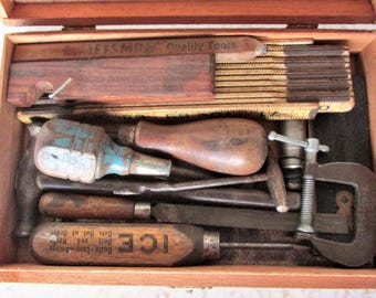 Vintage Tool Kit 12 Small Tools in Wood Box - Square Rule Clamp Level Hammer Screwdrivers Awl Plumb Bob