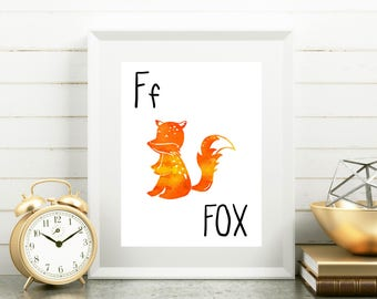 Fox Nursery Art, F is for Fox Print, 8x10 Printable, Fox Print, Wall Art, Watercolor
