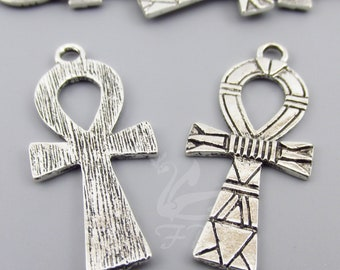2 Egyptian Ankh Cross Charms 41mm Wholesale Antiqued Silver Plated Egypt Pendants SC0086298