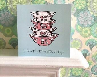 Vintage Pyrex Gooseberry Cinderella Bowls Blank Greetings Birthday Card