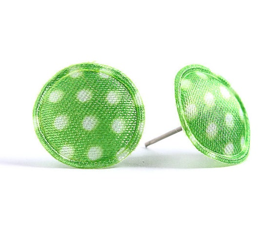 Green polka dots applique satin hypoallergenic studs earrings READY to ship (425)