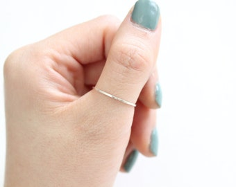 Micro Skinny Stacking Ring // Thin Ring in Sterling Silver, 14k Gold Filled, or 14k Rose Gold Filled