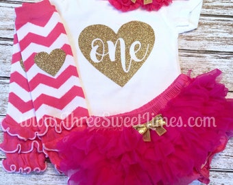 First Birthday Baby Girl Outfit | Bday Party Clothes | Hot Pink Gold Glitter | 1st Photo Shoot Smash Cake | Leg Warmer Tutu Bloomer Headband