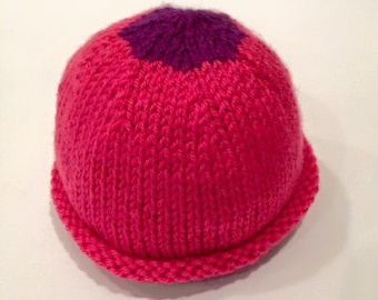 Pink + Purple Newborn Knit Baby Hat - Handmade - READY TO SHIP