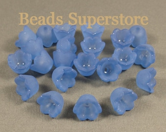 FINAL SALE 10 mm x 6 mm Royal Blue Lucite Flower Bead - 24 pcs