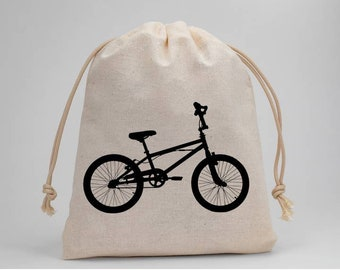 Biking, Bike, Birthday Party, Party Bags, Candy Bags, Treat Bags, Favor Bags, Muslin Bags, Fabric Bags, Goodie Bags, Set of 5
