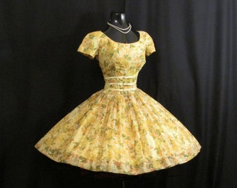 Vintage 1950's 50s Gigi Young Lemon Yellow Floral Chiffon Organza Bows Party Prom Wedding Dress