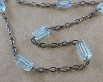 Aquamarine and Oxidized Sterling Toggle Necklace