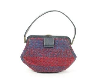 Vintage 60s Wool Tweed Handbag Red Navy Blue Purse Frame Bag Small Purse 1960s Mod Preppy Fashion Accessories GARAY