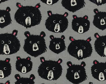 Teddy and the Bears Grey  - Black and White - Cotton + Steel - Quilters Cotton Available in Yards, Half Yards, Fat Quarters C5113-001