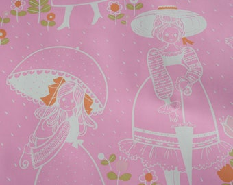 Vintage Pink Girl Gift Wrap by the Yard, Birthday Cute Wrapping Paper, Scrap Booking