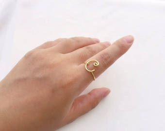 Custom Initial ring, gold initial jewelry, silver letter C ring, name ring, personalized ring, bridesmaid gift, wedding gift, birthday gift