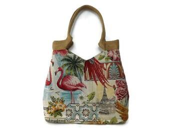 Tapestry tote bag, gobelin tote bag, large handbag, floral shoulder bag, flamingo bag, tapestry bag, tapestry handbag, flamingo purse