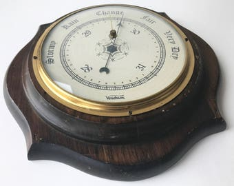 "Vintage Verichron barometer huge 11"" diameter beveled solid wood frame glass brass nautical"