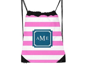 Drawstring Backpack, Drawstring Gym Bag, Drawstring Bag, Sleepover Bag, Camp Bag, Monogram, Personalized, Pick Colors: Preppy Stripes