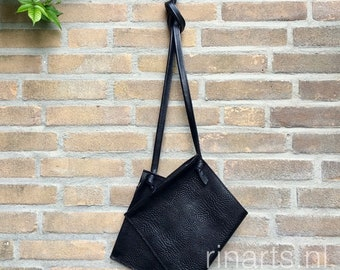Leather crossbody bag / leather messenger bag / leather shoulder bag DBL in black Italian leather with two zipper compartements