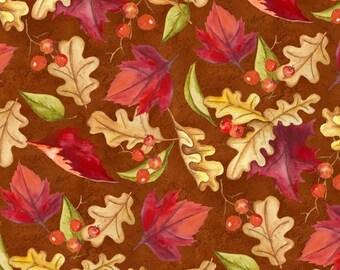 Fall Fabric - Thankful Harvest Leaves & Berries on Rust Brown - Wilmington YARD