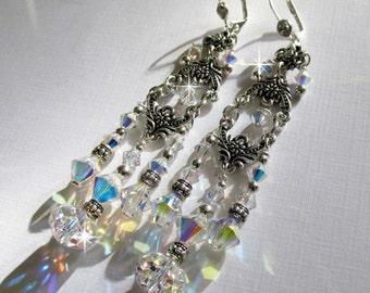 Waterfall, Victorian Style Bridal Earrings, Swarvoski Crystal Chandelier Wedding Earrings, Hollywood Glamour, Great Gatsby Style