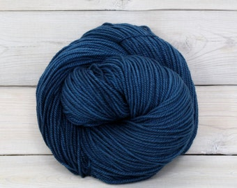 Zeta - Hand Dyed Polwarth Wool and Silk DK Yarn - Colorway: Marine