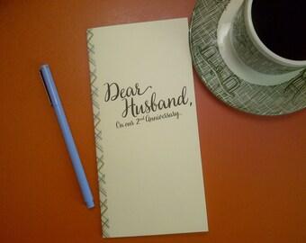 2nd Anniversary // Dear Husband On Our 2nd Anniversary Journal // Staple Bound Journal