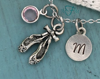 Ballet Shoes Charm Necklace, Personalized Necklace, Silver Pewter Ballet Shoes Charm, Custom Necklace, Swarovski Crystal birthstone