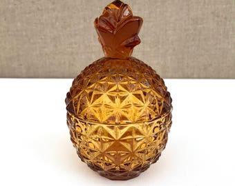 VINTAGE GLASS PINEAPPLE / Pressed glass / Glass box / Container / Bon bon / Candy dish / Amber / Trinket bowl / Jewelry Box / Lidded box