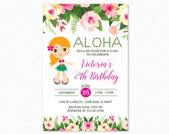 Luau Birthday Party Invitation, Luau Invitation, Hula Girl 2, Personalized, Printable or Printed Invitations
