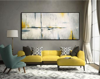 Original Minimalist Abstract Painting Large Texture Painting Modern Acrylic Abstract Gray White Black Gray-Blue Yellow Amber by JMack