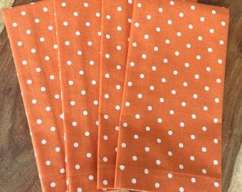 Orange with White Dot Napkins-orange, Fall, harvest-Set of 2 or 4