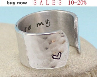 Personalized Ring - You are my sunshine Ring - Hand Stamped Adjustable Ring... .. Hammered ..Personalized Ring. Aluminum / Sterling Silver..