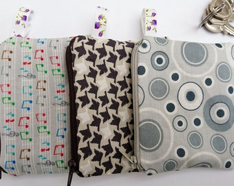 Small coin purse, change purse, money purse, grey purse, music purse, gift for friend, small gift, grey gift
