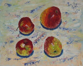 Fruit still life. Apples. Subscription 1986. Ukrainian Art. Oil Painting on cardboard. Size 39,5 x 49,5 cm. (2960).
