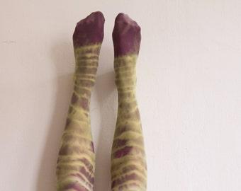 Handmade Tie-dyed / Batik green & purple tights / MARCH