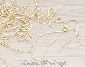 ERG652-MG // Matte Gold Plated Ball End French Earwire, 10 Pc