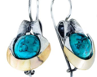 Silver and Gold Earrings, Turquoise Earrings, Sterling Silver Earrings,  Silver Jewelry