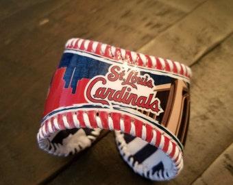 St Louis Cardinals Fredbird Baseball Cuff Bracelet