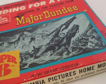 """Vintage Super 8 Western Cinema Classic """"Major Dundee: Riding for a Fall"""" Columbia Pictures Home Movie #HF8 Retro Litho & Film Collectible"""