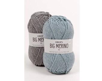 DROPS Big Merino - Merino wool yarn - Superwash yarn - 100 wool yarn - Soft wool - Drops yarn - Yarn worsted - Aran yarn - Knitting yarn