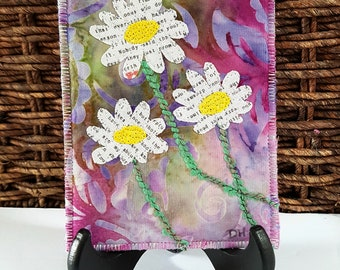 NEW! Daisies Handmade Postcard / Quilted Postcards / Fabric Postcards  / Art Postcard / Art Card / Daisy Art / Daisies/Thoughtful Gift