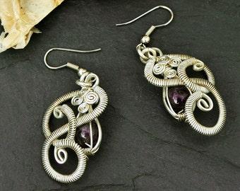 Sterling Silver Earrings,  Amethyst Earrings, Dangle Earrings,  Wire Wrap Earrings, Purple Stone Earrings, Gemstone Earrings