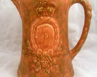 Rare Coronation Pitcher King Edward VIII, 1937, English Pottery, Arthur Wood