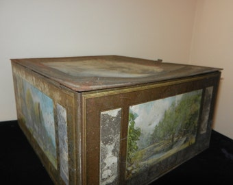 Antique Copper Box - With Painted Sides and Top - Lots of Patina