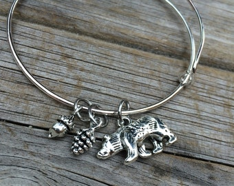 Bear bracelet, pinecone Bracelet, Acorn Bracelet, Charm Bangle, Charm bracelet, Wilderness bracelet