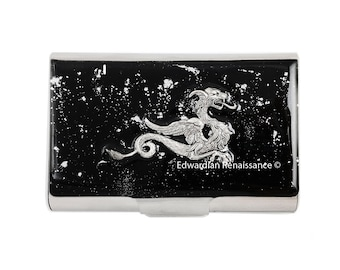 Large Business Card Holder Dragon Inlaid in Hand Painted Enamel Game of Thrones Inspired Black with Silver Splash Design Personalized Option