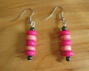 Wooden Pink Stripes with Hematite Accents