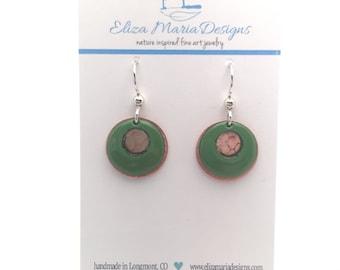 Forest Green Earrings, Green Enamel & Copper Earrings, Handmade Green Enamel Jewelry, Textured Copper Earrings, Green Glass Earrings