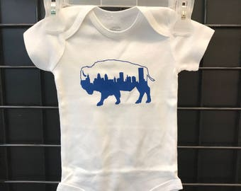 Buffalo NY Baby Bodysuit Downtown Skyline 716 Buffalove