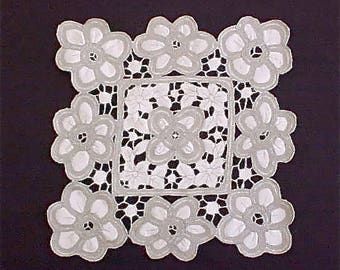 Beautiful and Unusual Antique Battenburg Doily Made with Satin