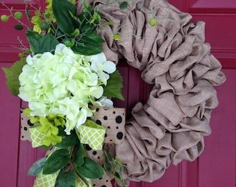 Hydrangea Wreath Everyday Wreath, Thank You Wreath, Realtor Closing Gift,  Client Appreciation Gift