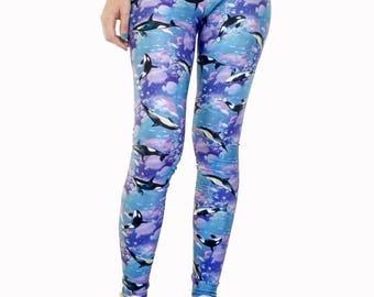 Dolphins & Whales Leggings / Printed Leggings / Fish Leggings / Sea Leggings / Yoga Pants / Unique Leggings / Surf Woman Leggings